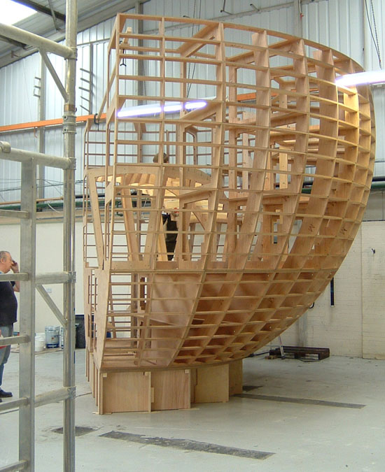 Plywood frame for 180 degree section of a sphere.