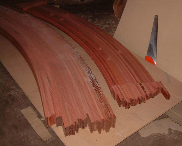 Curved glued hardwood blank